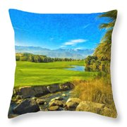 Desert Golf Resort Pastel Photograph Throw Pillow