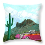 Desert Roadster 34 Ford Throw Pillow