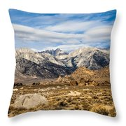 Desert View Of Majestic Mount Whitney Mountain Peaks With Clouds Throw Pillow