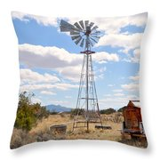 Desert Windmill Throw Pillow
