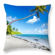 Deserted Beach And Palm Trees Throw Pillow