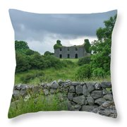Deserted Building In Ireland Throw Pillow