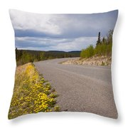 Deserted Rural Highway Yukon Territory Canada Throw Pillow