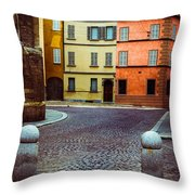 Deserted Street With Colored Houses In Parma Italy Throw Pillow