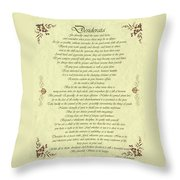 Desiderata Gold Bond Scrolled Throw Pillow by Movie Poster Prints