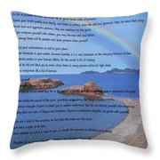 Desiderata On Beach Scene With Rainbow Throw Pillow