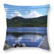 Desiderata On Pond Scene With Mountains Throw Pillow