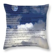 Desiderata On Sky Scene With Full Moon And Clouds Throw Pillow