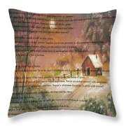 Desiderata On Snow Scene With Cabin Throw Pillow