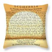Desiderata Poem On Golden Sunset Throw Pillow