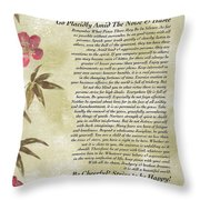 Desiderata Poem With Bamboo And Butterflies Throw Pillow