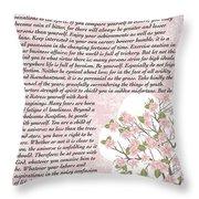 Desiderta Poem On Cherry Blossom Throw Pillow