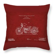 Original Design For A 1928 Harley Motorcycle Throw Pillow