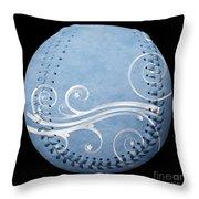 Designer Light Blue Baseball Square Throw Pillow