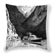 Anchored Safe Chatterbox Falls, British Columbia Inside Passage Throw Pillow