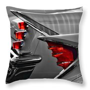 Desoto Red Tail Lights In Black And White Throw Pillow