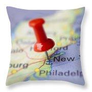 Destination To New York Throw Pillow