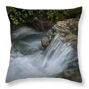 Detail Of A Small Water Fall In A Stream Throw Pillow