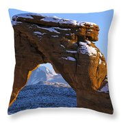 Detail Of Delicate Arch With Snow Arches National Park Utah Throw Pillow