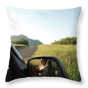 Detail Of Man In Side Mirror Of Car Throw Pillow