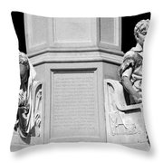Detail Of Monument Statues - Bw Throw Pillow