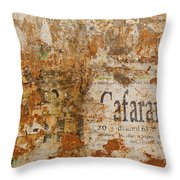 Detail Of Old Stone Wall In Sorrento Throw Pillow