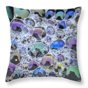 Detail Of Rainbow-colored Bubbles Throw Pillow