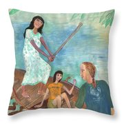 Detail Of We All Went Punting Throw Pillow
