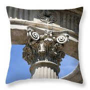 Detailed View Of Corinthian Order Column Throw Pillow