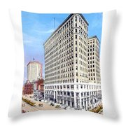 Detroit - The Lafayette Building - Michigan Avenue Lafayette And Shelby Streets - 1924 Throw Pillow
