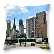 Detroit As Seen From Comerica Throw Pillow