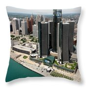 Detroit International Riverfront Throw Pillow