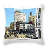 Detroit - Michigan And Griswold Avenues - 1910 Throw Pillow