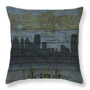 Detroit Michigan City Skyline Silhouette Distressed On Worn Peeling Wood Throw Pillow
