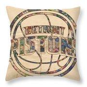 Detroit Pistons Poster Art Throw Pillow