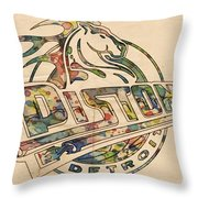 Detroit Pistons Retro Poster Throw Pillow