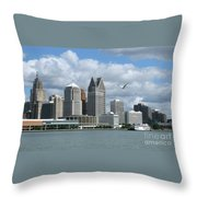 Detroit Riverfront Throw Pillow