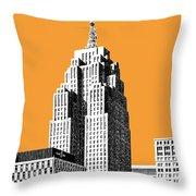 Detroit Skyline 2 - Orange Throw Pillow