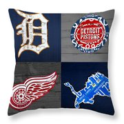 Detroit Sports Fan Recycled Vintage Michigan License Plate Art Tigers Pistons Red Wings Lions Throw Pillow