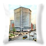 Detroit - The Majestic Building - Woodward Avenue - 1900 Throw Pillow