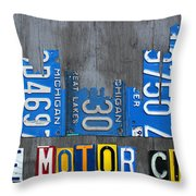 Detroit The Motor City Skyline License Plate Art On Gray Wood Boards  Throw Pillow