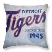 Detroit Tigers Wold Series 1945 Sign Throw Pillow