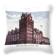Detroit - Union Depot - Fort Street - 1907 Throw Pillow