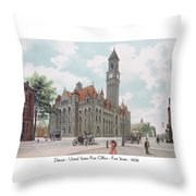 Detroit - United States Post Office - Fort Street - 1908 Throw Pillow