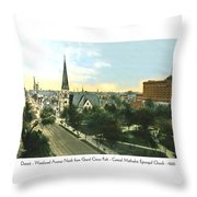 Detroit - Woodward Avenue North Grand Circus Park - Central Methodist Episcopal Church - 1920 Throw Pillow