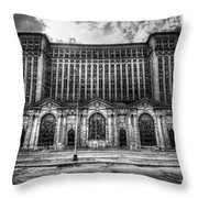 Detroit's Abandoned Michigan Central Train Station Depot In Black And White Throw Pillow