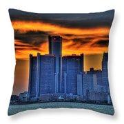 Detroits Sky Throw Pillow by Nicholas  Grunas