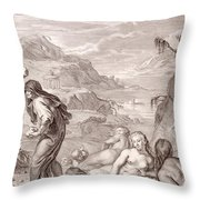 Deucalion And Pyrrha Repeople The World By Throwing Stones Behind Them Throw Pillow