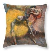 Deux Danseuses Jaunes Et Roses Throw Pillow