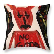 devil with NO GOOD tee shirt Throw Pillow